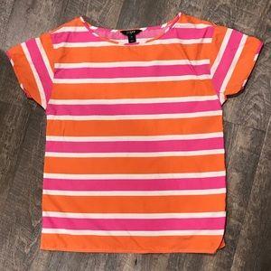 J Crew Orange Pink White Striped Silk Tee XS